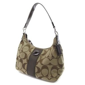 Coach Signature Stripe Shoulder Bag F19281 Brown